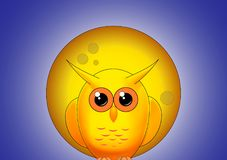 Yellow owl against the full moon at night Stock Photos