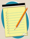 Yellow Pad Checklist, Pencil. Copy space to add your own text, list, or notes. Yellow legal pad of paper, pencil and sharpener, with check marks Royalty Free Stock Photo