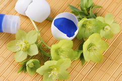Yellow pad and Easter decoration with egg shells and hellebore plus tempera paint. Yellow pad and Easter decoration with egg shells and hellebore plus blue royalty free stock photo