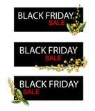 Yellow Padauk Flowers on Black Friday Sale Banner Stock Image