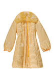 Yellow padded coat with has fastener Stock Images