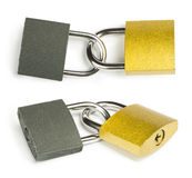 Yellow padlock isolated Stock Photos