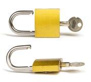 Yellow padlock and keys Stock Photos