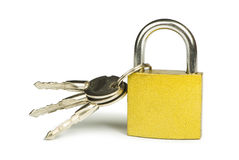 Yellow padlock and keys Royalty Free Stock Photo