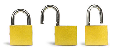 Yellow padlock  Stock Photos