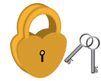 Yellow padlock Royalty Free Stock Image