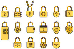 Yellow padlocks. A series of illustrations of filled line art style padlocks with key holes and combination locks Royalty Free Stock Photo