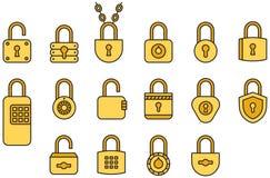 Yellow padlocks Royalty Free Stock Photo