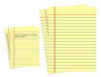 Yellow page of Legal Pad. Yellow page of Legal Pad with blue lines, blank Royalty Free Stock Photo
