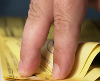 Yellow Pages 3. Walking your fingers through the yellow pages Stock Photography