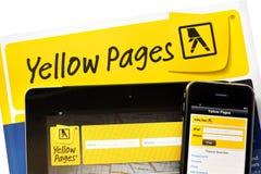 Yellow Pages en línea Imagen de archivo libre de regalías