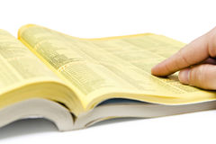 Yellow pages search Stock Image