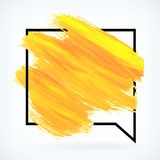 Yellow paint artistic dry brush stroke vector background Stock Photography