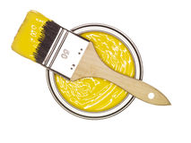 Yellow Paint can with brush Stock Images