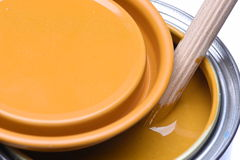 Yellow paint can Royalty Free Stock Image