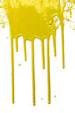 Yellow Paint Dripping. Isolated over white background Stock Photography