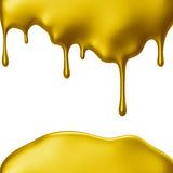 Yellow paint dripping isolated over white background Stock Photos