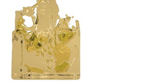 Yellow paint flow fills up a container slowly. Close-up view of yellow paint flow fills up a rectangular container in slow motion isolated on white background stock video