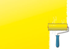 Yellow paint roller Stock Photos