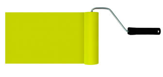 Yellow paint roller isolated on white - header, banner, backgrou Royalty Free Stock Photography
