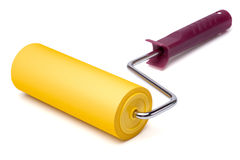 Yellow paint roller on white background Royalty Free Stock Photos