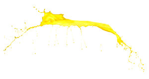 Yellow paint splash on white background Royalty Free Stock Photo