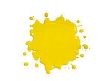 Yellow Paint Splatter. Isolated over white background royalty free stock images