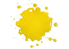 Yellow Paint Splatter. Isolated over white background stock photos