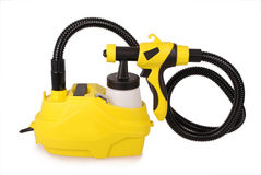 Yellow paint sprayer Royalty Free Stock Images