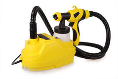 Yellow paint sprayer Royalty Free Stock Image