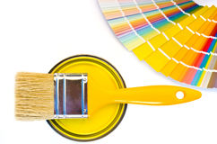 Yellow paint and swatch. Royalty Free Stock Photo