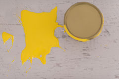 Yellow paint tin can Royalty Free Stock Image