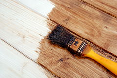 Yellow paint varnish wooden matchboards. Of darker brown, as background Royalty Free Stock Photo