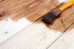 Yellow paint varnish wooden matchboards Stock Image