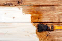 Yellow paint varnish wooden matchboards. Of darker brown, as background Royalty Free Stock Image