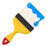 Paintbrush with Blue Paint Flat Icon on White Stock Photography