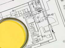 Yellow Paintcan And Blueprint Royalty Free Stock Image