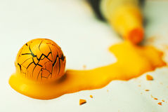 Yellow painted ball Stock Image