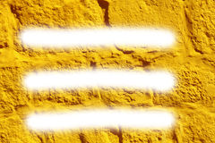 Yellow painted concrete wall blank with white three stripes background Stock Photo