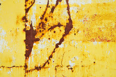 Yellow painted metal with rust texture Royalty Free Stock Photography