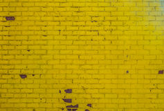 Yellow painted old brick wall texture pattern grunge background Royalty Free Stock Image
