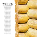 Yellow painted wall log houses with wooden logs Royalty Free Stock Image