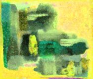Yellow. And painting of green construction Stock Photos