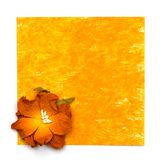Yellow painting paper with flower Stock Photography