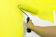 yellow painting wall royalty free stock image