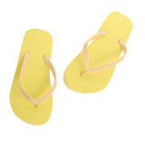 Yellow Pair of Flip Flops Isolated Royalty Free Stock Photography