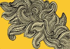 Yellow paisley pattern background design. Hand drawn yellow paisley pattern background design for use as wallpaper royalty free illustration
