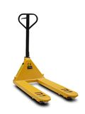 Yellow pallet truck. Shot over white background Royalty Free Stock Photo