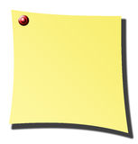 Yellow paper. Over white background with red pin Stock Image