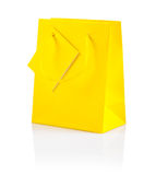 Yellow paper bag isolated Royalty Free Stock Images